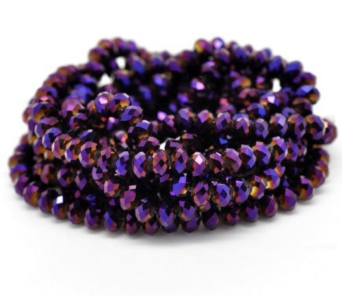 72 Dark Purple AB Color Crystal Glass Faceted Rondelle Beads 8mm